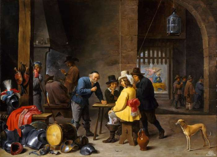 David Teniers d. J., Wachtstube mit der Befreiung Petri, ca. 1645–47